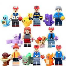 8 Pcs MINI FIGURES FIT WITH LEGO 8 POKEMON + 8 TRAINERS FULL SET BUILDING BLOCKS