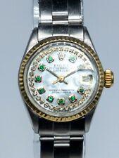 Estate $7000 ROLEX Datejust 18k Yellow Gold SS Emerald Diamond Ladies Watch WTY