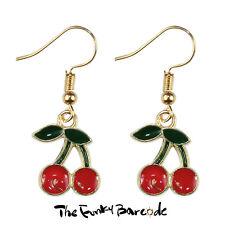 TFB - SWEET CHERRIES DANGLE EARRINGS Funky Fresh Fruit Retro Quirky Gift Cute