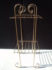 Vintage Mid Century Modern Atomic Gold Wire Metal 2 Shelf Plant Record Stand