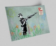ACEO Banksy Boy With Machine Gun Graffiti Street Art Canvas Giclee Print