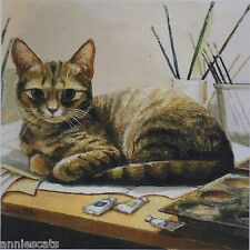 Beautiful Tabby Cat Chester in Studio Print From Original Painting by Celia Pike