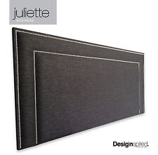 JULIETTE CHROME Stud Upholstered Bedhead for Queen Size Ensemble - EBONY