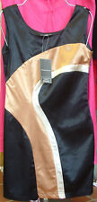 NAF NAF STRETCH BLACK SATIN FRENCH DRESS 42 STUNNING!!!