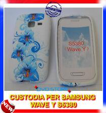 Custodia + Pellicola TPU FIORI BLU per Samsung Wave Y S5380