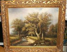 G.TOMAN RIVER LANDSCAPE OIL ON CANVAS PAINTING SIGNED