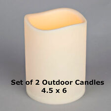 Set of 2 Outdoor Battery Operated Candle 4.5 x 6 with Timer - Batteries Included