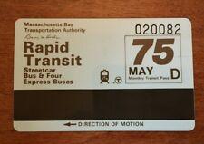 Vintage Mbta Boston rapid transit bus subway monthly pass D 1980's 75 cent fare