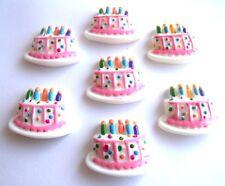 6 Cumpleaños Celebración Pastel De Resina Dorso Plano Cabujones kitch-Envío rápido