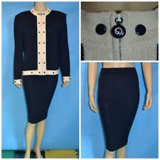 ST JOHN COLLECTION Knit Navy Blue JACKET SKIRT L 14 12 2pc Suit Cream Trim Studs