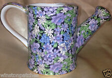 TWO'S COMPANY TWC3 MOLLIE WATERING CAN CREAMER PURPLE & WHITE CHINTZ ON BLACK