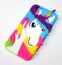 For iPhone 6 / 6S - SOFT SILICONE GUMMY RUBBER SKIN CASE COVER RAINBOW UNICORN