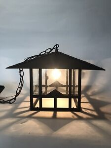 Reclaimed Craftsman Outdoor Ceiling Patio Porch Hanging Light Craft Glass