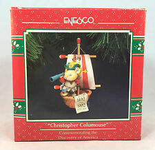 Enesco Christopher Columouse Mouse 1992 Ornament with Box Discovery of America