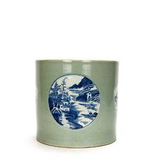 Old Chinese Celadon Glazed Ground Blue and White Medallion Porcelain Brush Pot