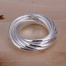 beautiful Fashion solid silver Pretty cute  party circle Ring jewelry wedding
