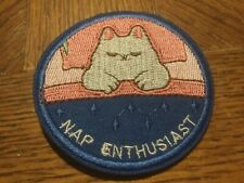 "Nap Enthusiast - PATCH -3"" Embroidered Iron-On - Cat Sleep"
