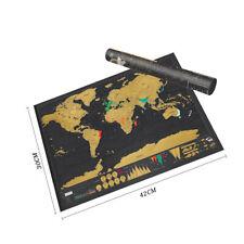 Travel Tracker Deluxe Scratch Off World Map Poster Atlas Falg Retro Maps FGJ