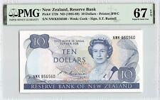 New Zealand ND (1985-89) P-172b PMG Superb Gem UNC 67 EPQ 10 Dollars