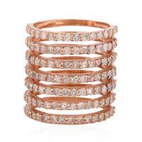 Solid 18k Rose Gold 1.62 ct Pave Diamond Spiral Midi Ring Handmade Jewelry