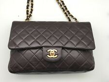 VINTAGE Chanel Brown Quilted Lambskin Small Classic Double Flap Shoulder Bag