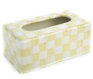 MacKenzie-Childs Parchment Check Enamel Standard Tissue Box Cover - Discontinued