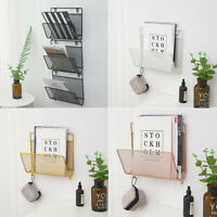 Wall Mount Metal Storage Basket Magazine Book Rack Shelf Orgainzer Holder