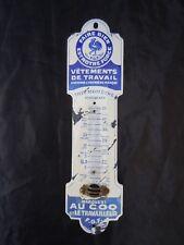 Plaque émaillée bombée au coq vetements de travail thermometre pub vers 1950