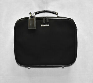 F0 GUCCI 019-0423 Black Dual Zip Compartments Commuting Business Briefcase Bag