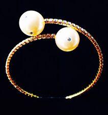 USA PEARL BRACELET use Swarovski Crystal Wedding Bridal Cuff Gold Fashion New