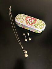 Brighton Drop Pearl Pendant Necklace w/Matching Drop Earrings - Set includes tin