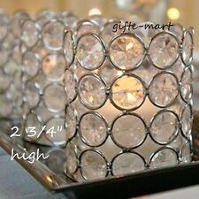 Silver Shimmer Round Crystal Prism gem diamond Bling votive Candle holder cup