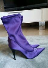 stivaletti tacco viola elasticizzati 38 5 donna sexy sera cerimonia stivali raso