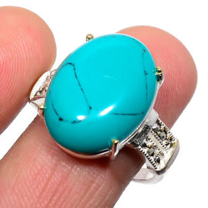 Santa Rosa Turquoise & Marcasite 925 Sterling Silver Jewelry Ring s.Ad M1593