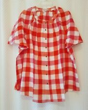 NEW Woman Within 1X 22/24 tunic top shirt Linen Blend Buffalo Plaid Tangerine