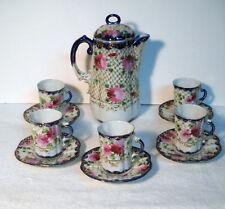 Vintage~Unmarked Nippon~12 Pcs~Pink Peonies~Cobalt Rim~Tea/Chocolate/Coffee Set