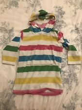 Mini Boden Hooded Poncho After Swimming Girl 18-24 Months Striped Pink White