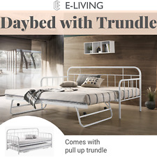 Metal Daybed With Pop up Trundle Sofa Bed Frame - Single Size