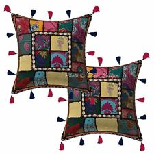 "Cotton Kodi Tassels Patchwork Pillow Case Covers 16"" Traditional Cushion Cover"