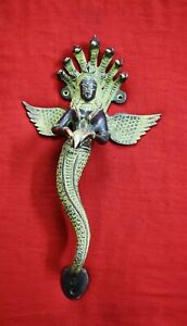 Wall Hanging Mermaid Shape Welcome Decor Brass Lucky Women With Snake Crown RD36