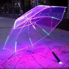 Umbrella LED Color Changing Luminous Transparent Rain Kids Women Flashlight
