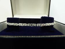 New Solid Sterling Silver.925 Square Byzantine Bracelet 7 1/2""