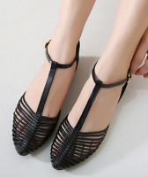 Womens Jelly Sandals Flat T-strap Beach Closed Toe Ankle Strap Summer Shoes Size