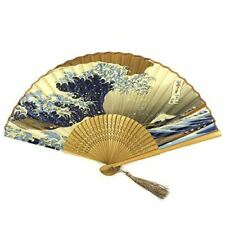 Wrapables Silk Handheld Folding Fan with Tassel and Protective Sleeve, Hokusai's