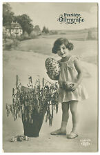 Child and Large Easter Eggs Real Photo Postcard RPPC