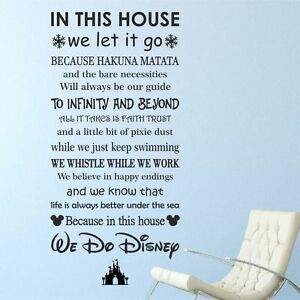In This House We Do Disney Wall Sticker Quote Decal Words Kids Sayings | WQB37