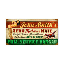 """Personalized Vintage Pinup Aero Mechanic's Mate Aviation Steel Sign 24"""" x 14"""""""
