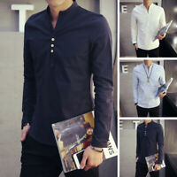 Men's Cotton Linen Stylish Stand collar Long Sleeve Slim Solid Casual Shirts
