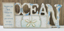 """Ocean with Sand Dollar Table Top Sign Free Standing Wood Sign. 12 inches x 5.5"""""""