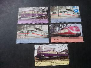 Bund Satz Mi. 2560-2563+2567 Wohlfahrt: Eisenbahnen in Deutschland, gestempelt.